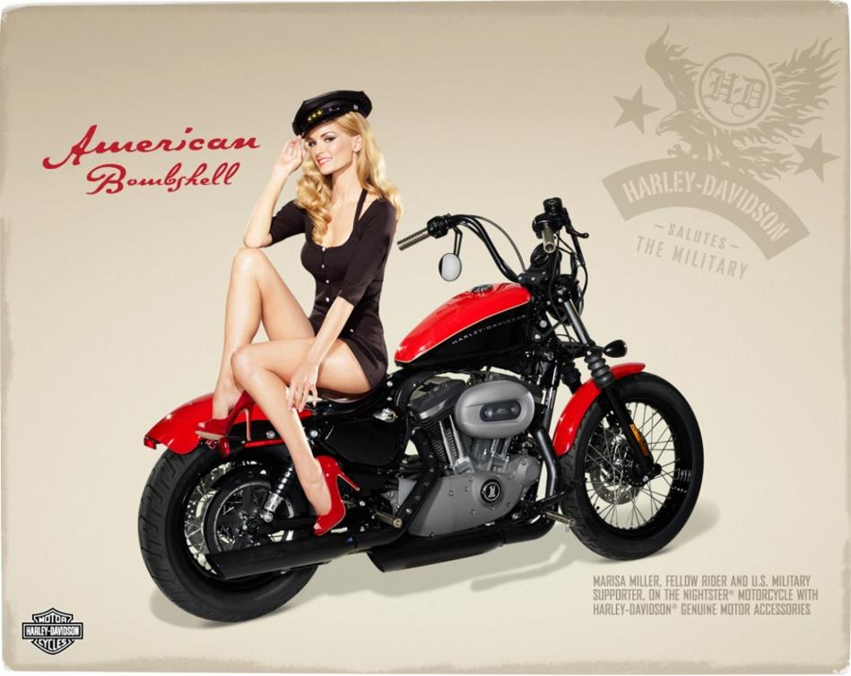 슈퍼모델 마르샤 밀러(Marisa Miller)Harley Davidson - Marisa Miller fellow and U.S Milltary support on the nighttster motoccycle.jpg
