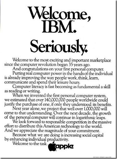 애플의 IBM 시장 진입을 환영한다는 인쇄 광고