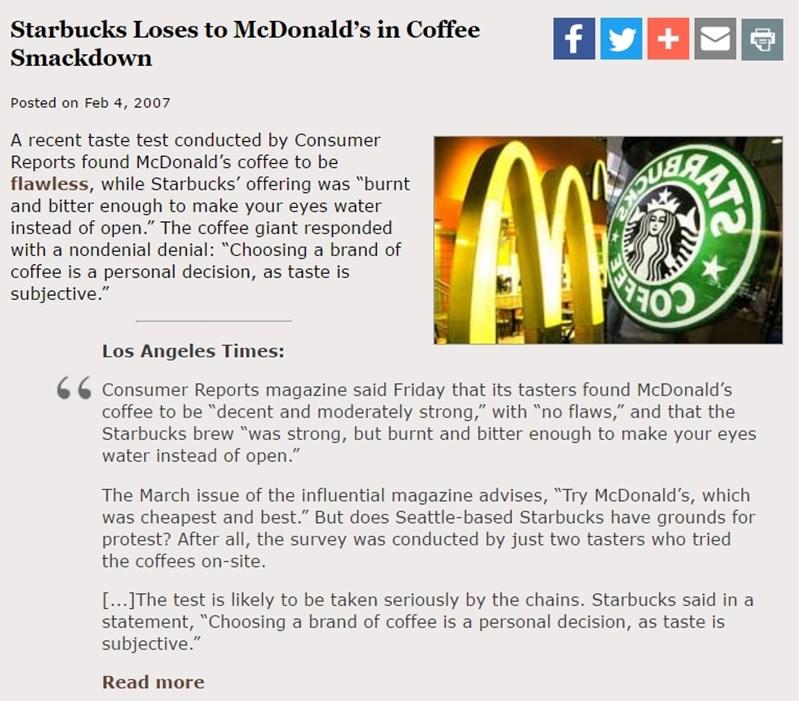 2007년 컨슈머리포트지 평가 보도 - 맥도널드 커피가 스타벅스를 이기다.jpg