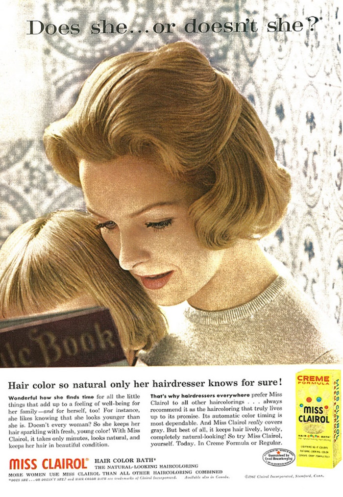 Miss Clairol_1961 Beauty Ad, Miss Clairol Hair Color Bath, Young Mother Reading Book to Child.jpg