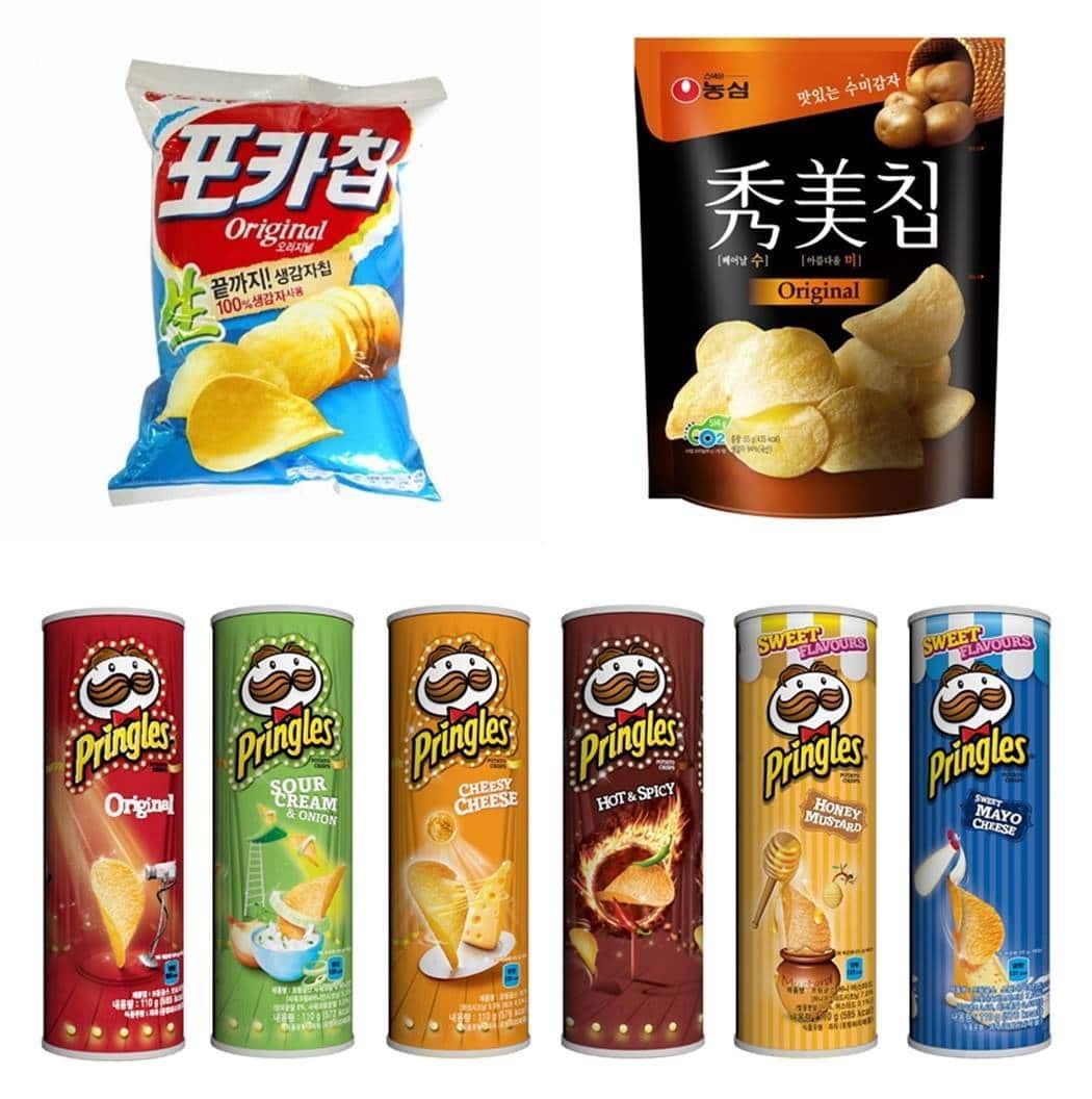 오리온 포카칩, 농심수미칩 농심켈로그 프렝글스