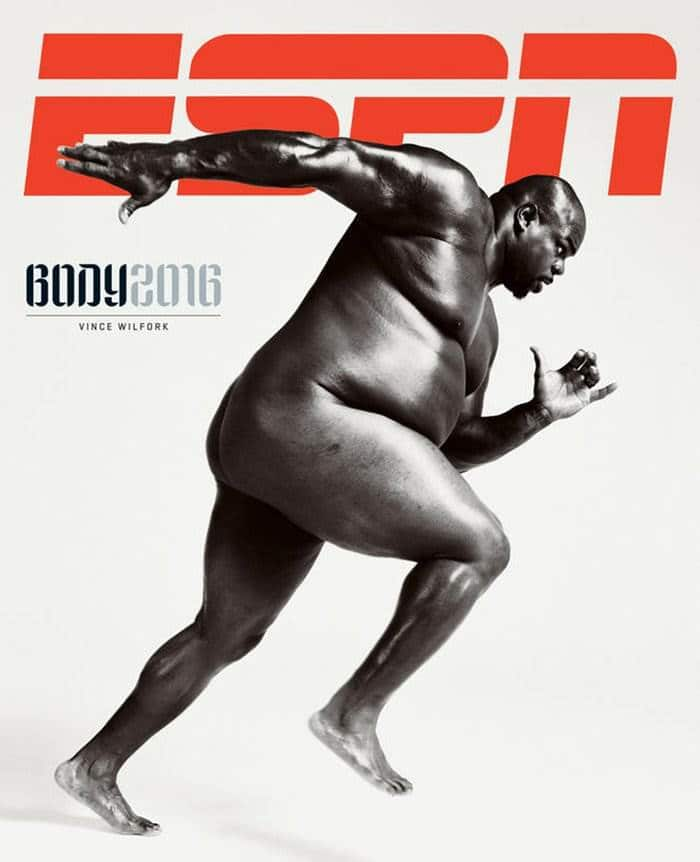 063016- Two-time Super Bowl champ Vince Wilfork on the cover of ESPN's Body Issue. Photo credit: Peter Hapak for ESPN The Magazine Body Issue