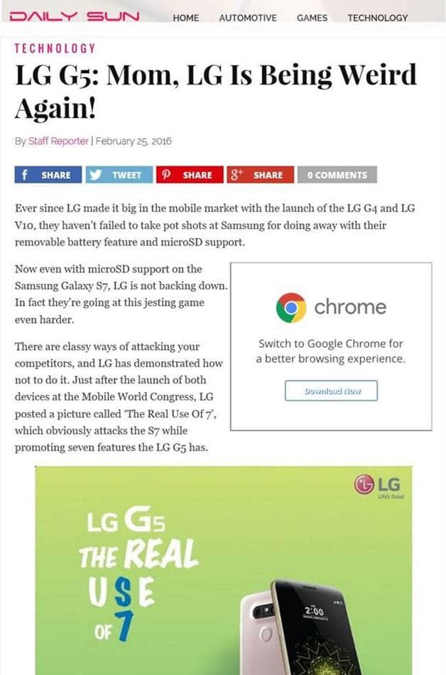 LG전자 황당마케팅에 대한 해외 기사 Daily SUN