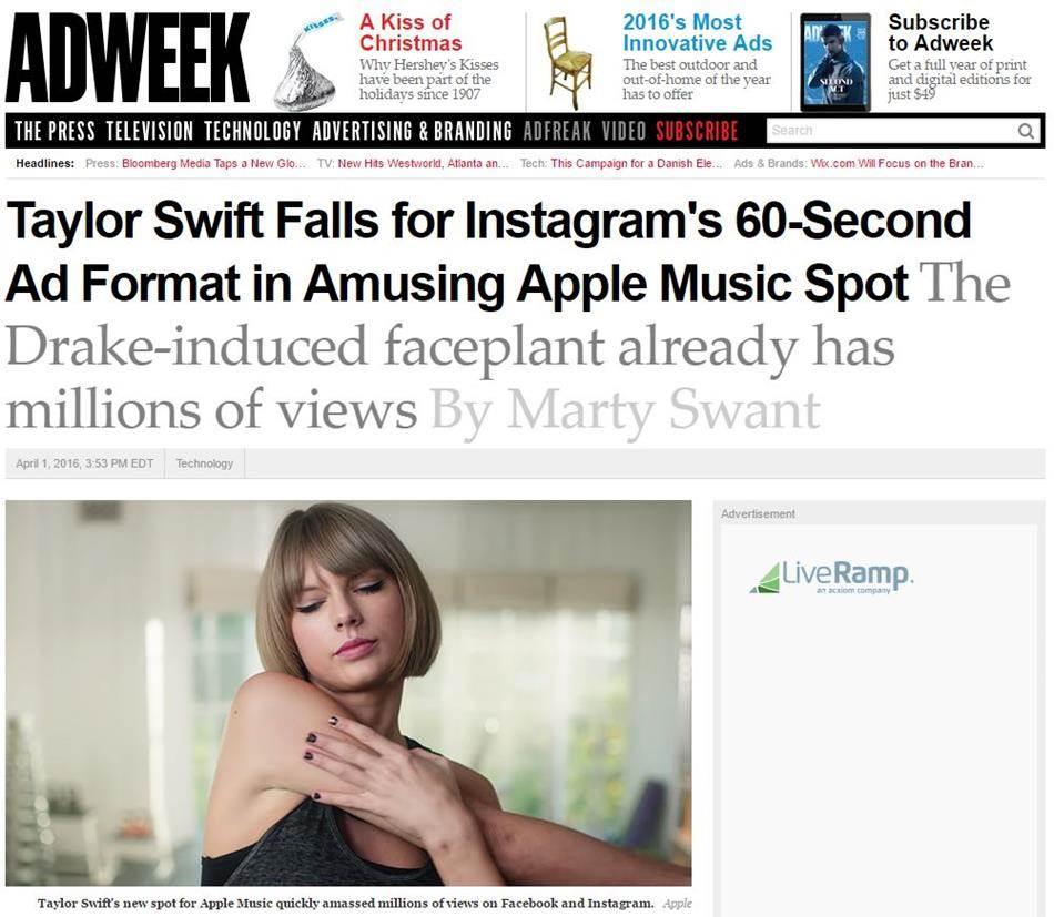 ADWEEK지의 보도_테일러 스위프트 애플 뮤직 광고