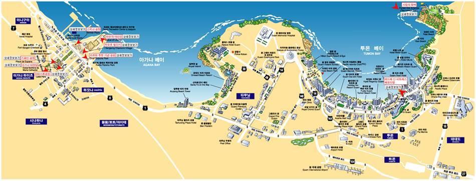 괌지도_하갓나베이 및 투문베이 지도 map of Agana and Tumon bay