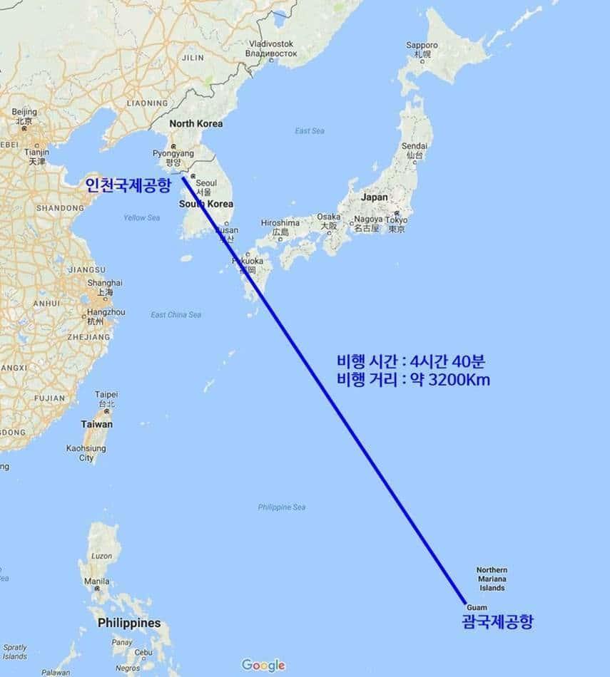 한국과 괌사이의 거리 지도