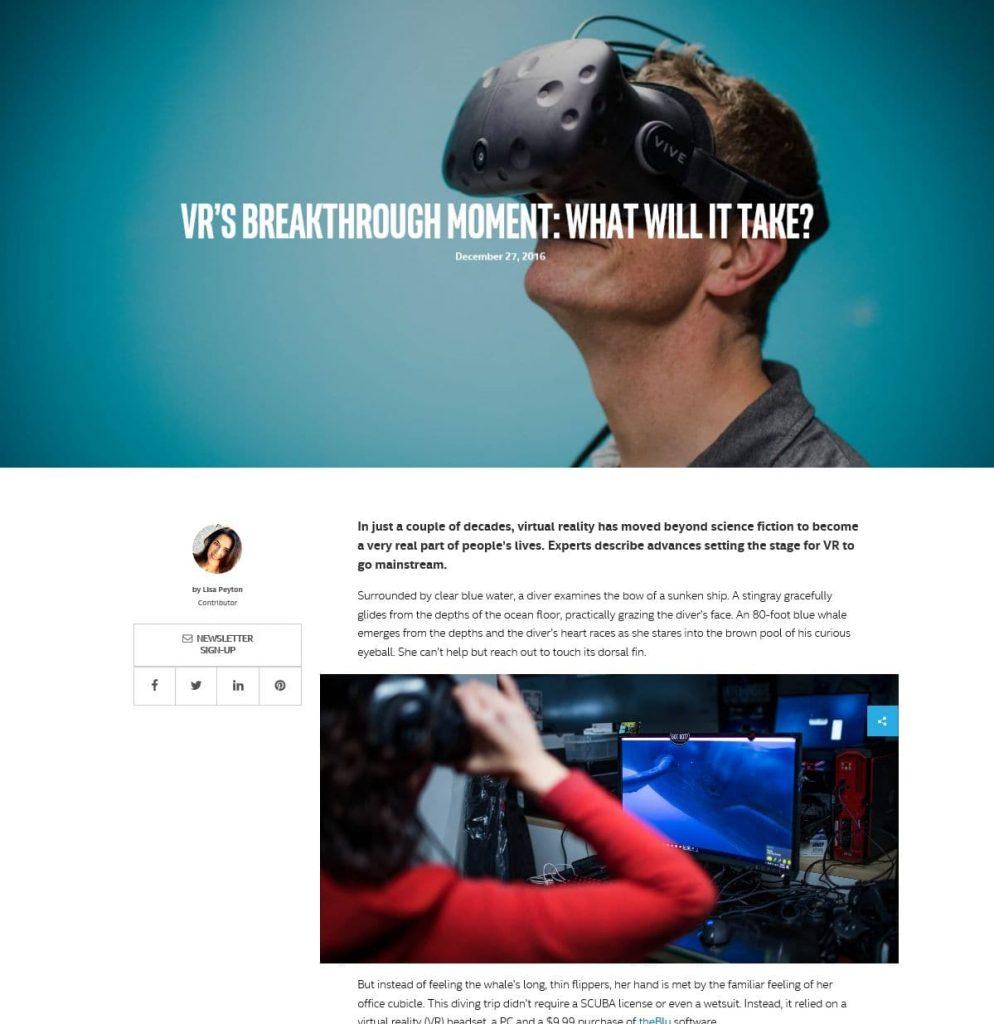 인텔 iQ VR에 대한 기사