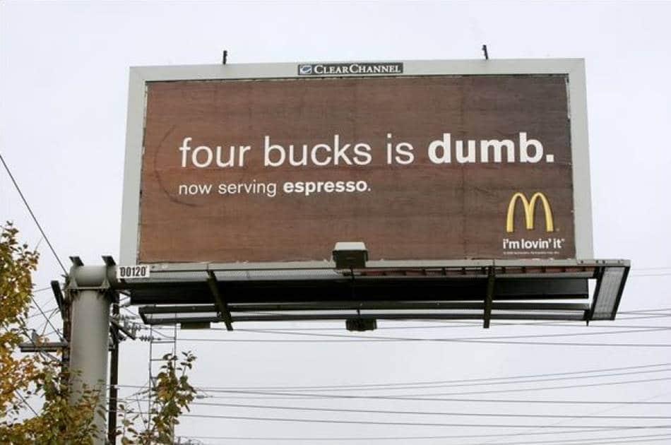 맥도날드 광고 - 4달러짜리 스타벅스를 마시는 것은 바보다