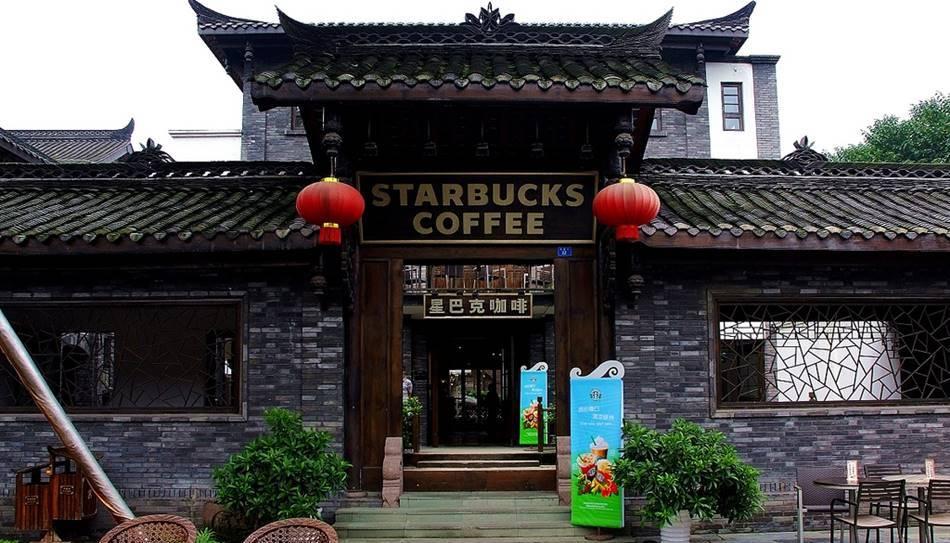 중국 전통 가옥과 매칭된 스타벅스 중국 쓰촨성 청두 매장