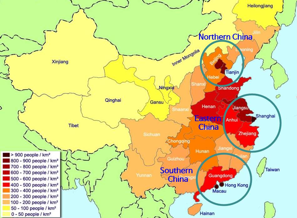 중국 지역별 인구밀도 지도 China population density by adm regions_English