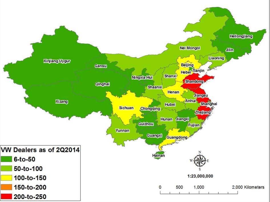 중국 폭스바겐 딜러쉽 현황92014년 기준)_VW Dealerships by Province, 2Q2014