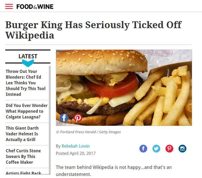 버거킹 광고를 비판하는 Food&Wine 기사-1