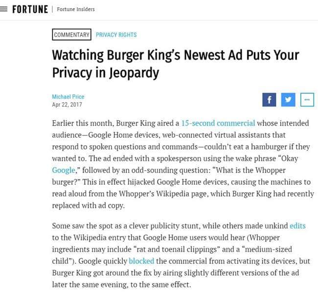 버거킹 광고에 대한 포춘 기사