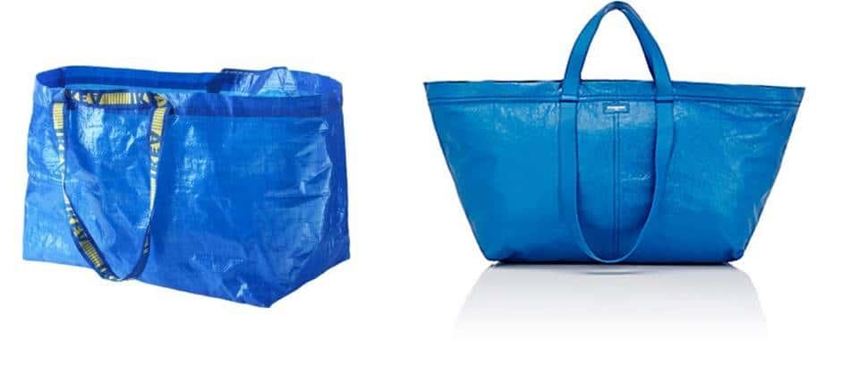 이케아 99센트Frakta shopping bag vs Balenciaga의 Arena Extra-Large Shopper Tote Bag 가격 2145$