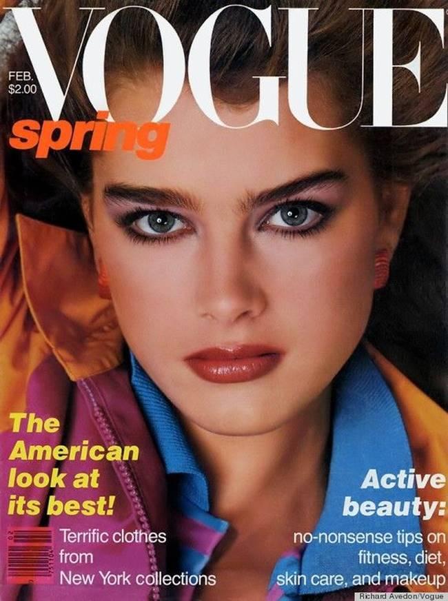 보그지에 처음 출연한 브룩실즈 브룩쉴즈는 보그지에 13번이나 얼굴을 내밀었다 Brooke Shields Brooke scored her first Vogue cover aged just 14, and went on to appear another 13 times