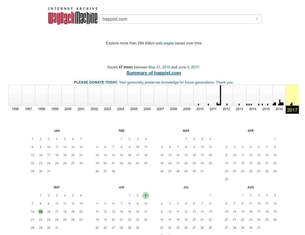 비영리 자동 백업 사이트 web.archive.org 메인