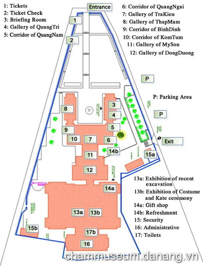 참 조각 박물관 지도 Cham Museum in Danang map