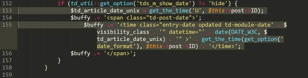 Wordpress theme Newspaper 8 td_module.php 153번째 155번째 줄 찾기