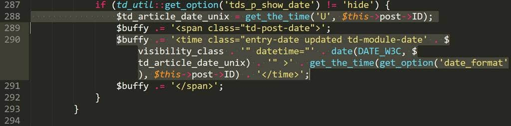 Wordpress tㅁheme Newspaper 8 td_module_single_base.php 288번째 줄 찾기