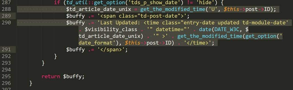 Wordpress theme Newspaper 8 td_module_single_base.php 288번째 290번째 줄 수정