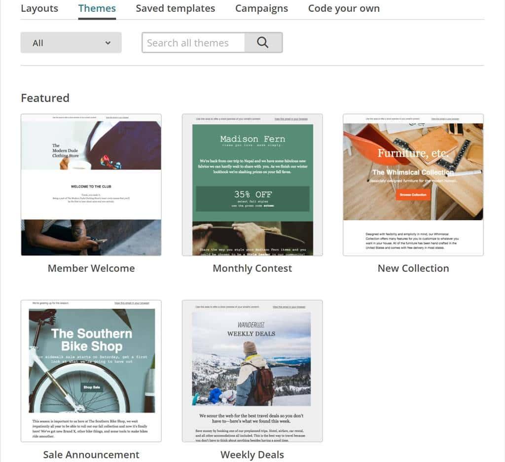 메일침브(MailChimp) 캠페인 만들기 템플릿 선택