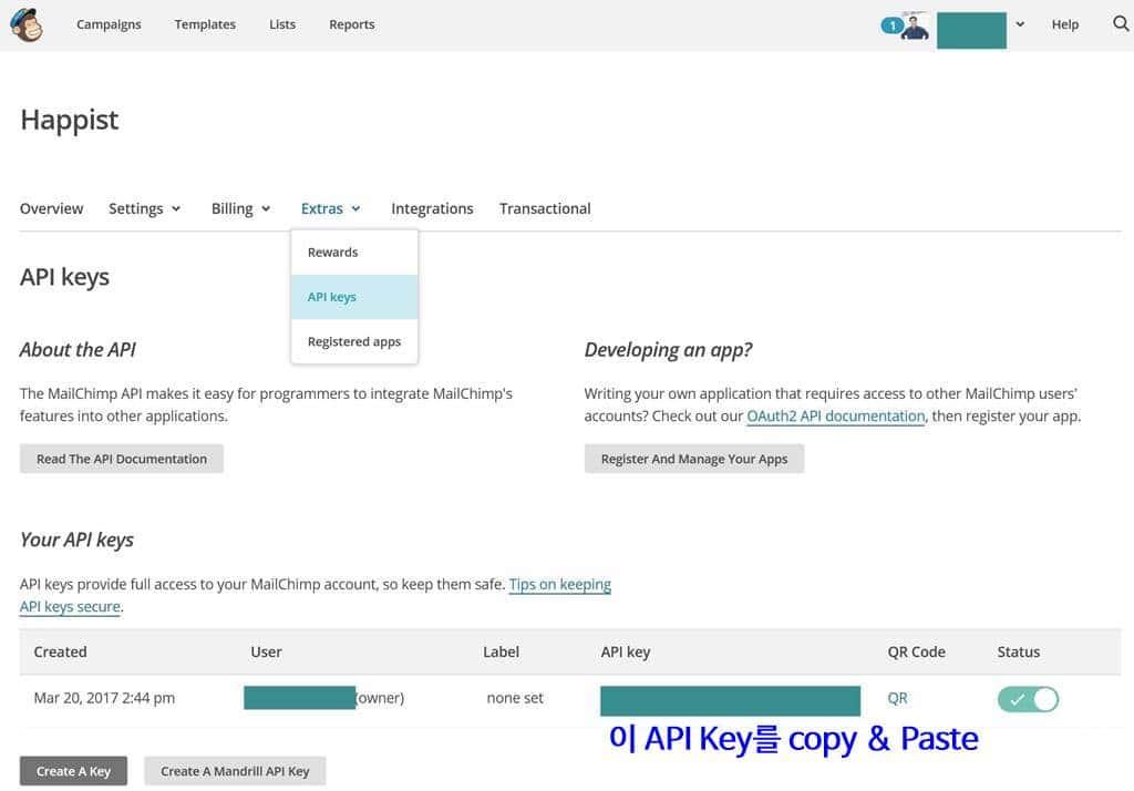 메일침프(MailChimp) API key