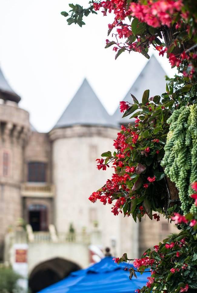 바나 힐(Bana Hill) 광장에서 담아 본 풍경, 꽃과 성같은 건물 풍경