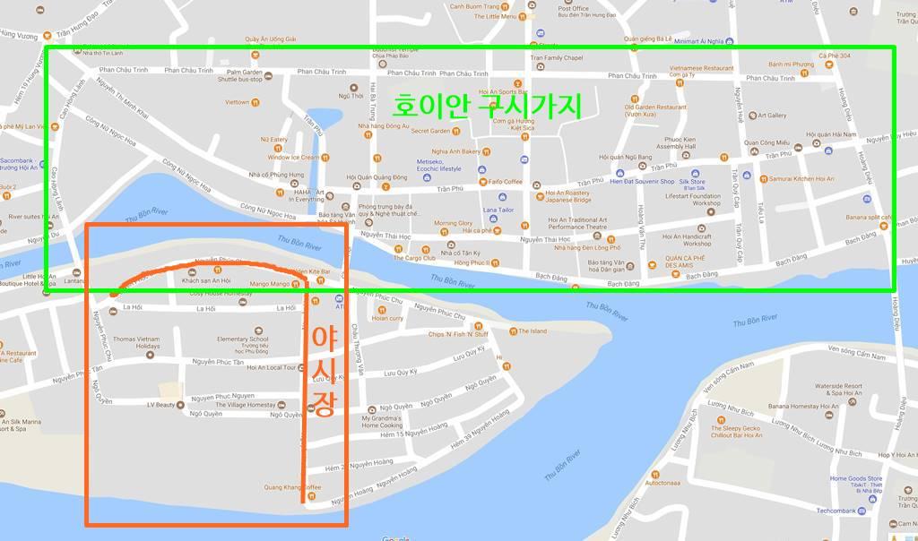 호이안 구시가지 및 야시장 지도
