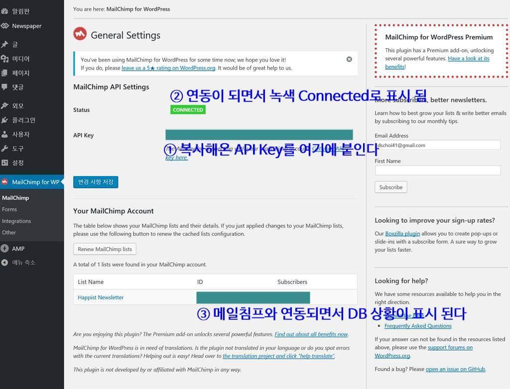 MailChimp for WordPress 세팅 화면