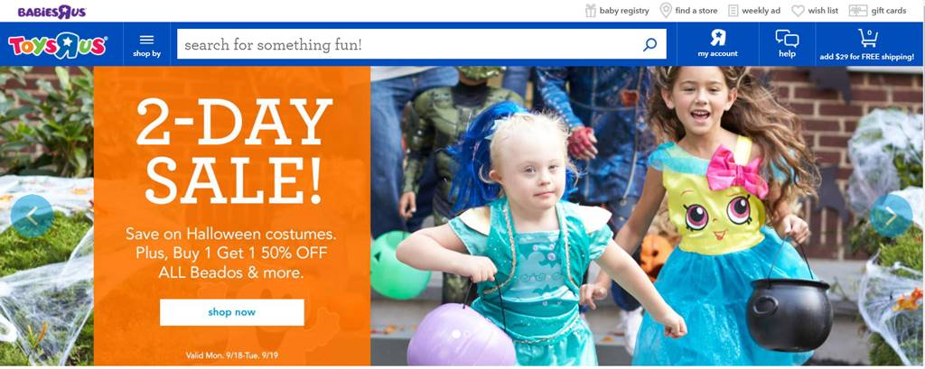 토이저러스(ToysRUs) 온라인쇼핑몰 toysrus.com 메인 페이지