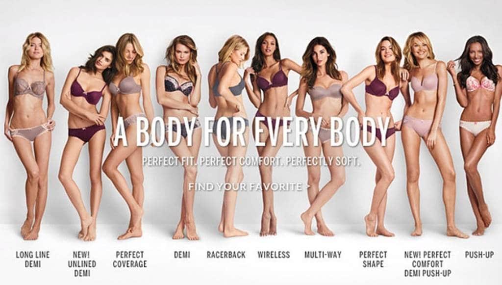 논란끝에 슬로건을 바꾼 빅토리아 시크릿(Victoria's Secret) 2014년 The Perfect Body에서 A Body For Every Body로 변경