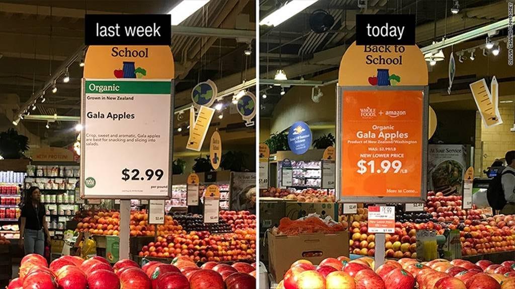아마존 홀푸드 인수 후 가격 변화 CNN Money 170828114255-whole-foods-price-drop-apples-780x439