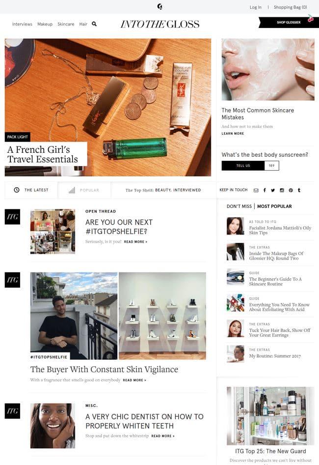 뷰티 블로그 Into the Gloss 메인 페이지 by 에밀리 와이즈(Emily Weiss) 02
