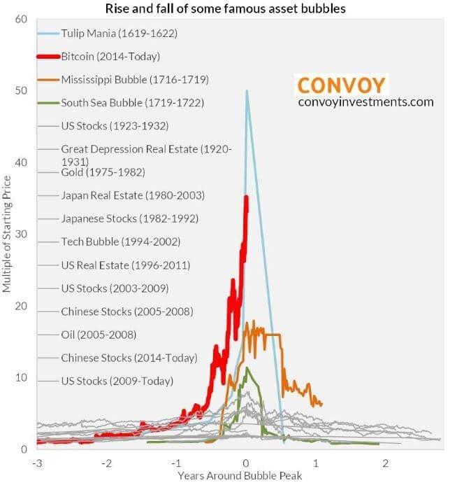 비트코인 자산 버블 역사상 유명 버블 비교 그래프 bitcoin-bubble convoyinvestments.com Rise and fall of some famous asset bubble