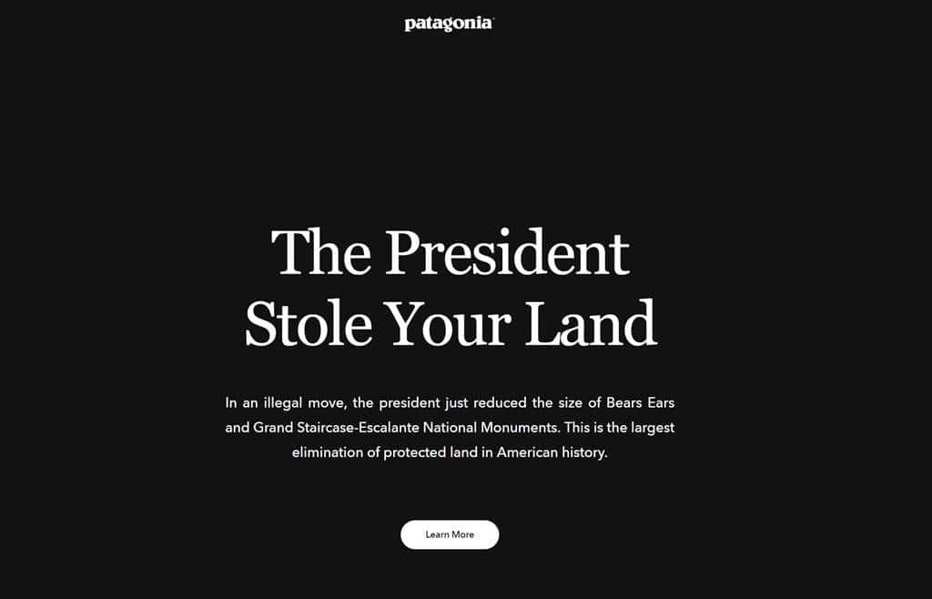 파타고니아 홈페이지 대통령이 당신의 땅을 훔치고 있다 patagonia The President Stole Your Land