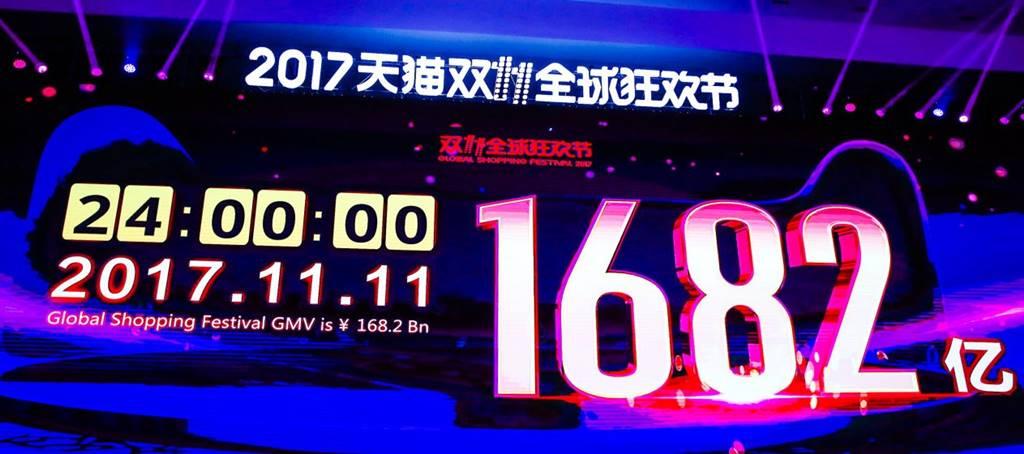 2017년 광군제 24시간동안 거래액 1,682억 위안을 알리는 전광판 Alibaba Singles day Result