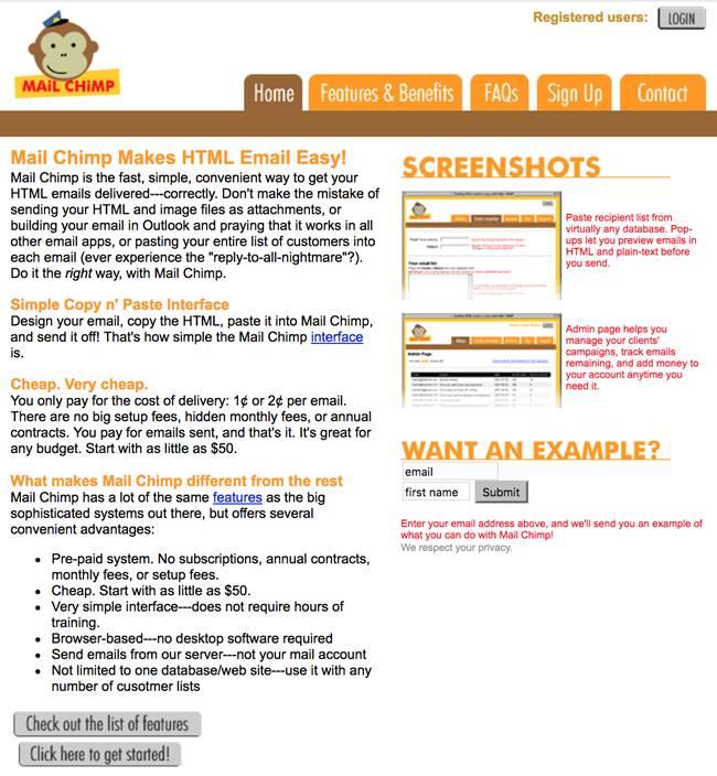 5년동안 유지되었던 메일침프 초기 웹사이트 디자인