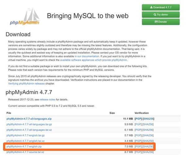 우분투 17.10에서 데이타베이스 관리 프로그램 phpMyAdmin 설치 방법_phpMyAdmin 다운로드 페이지 crop