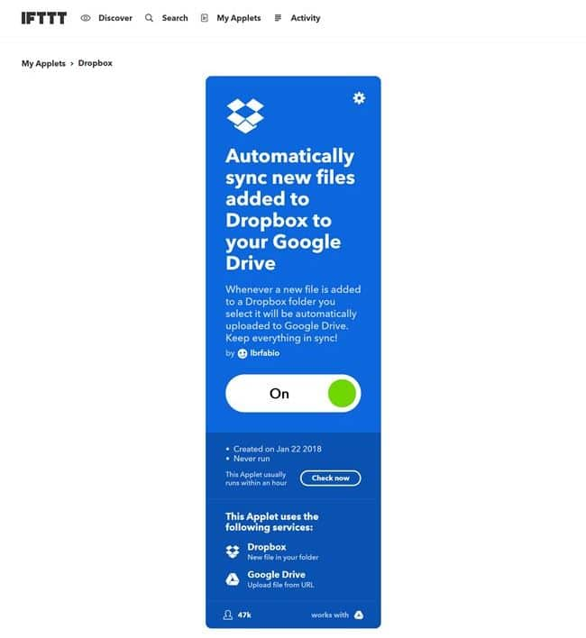 IFTTT Dropbox 에서 구글 드라이브로 복사 ifttt-applets-71065408d-automatically-sync-new-files-added-to-dropbox-to-your-google-drive-1516620842331