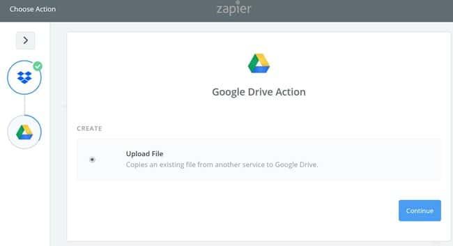 Zapier 사용법_구글 드라이브 설정 Upload Files