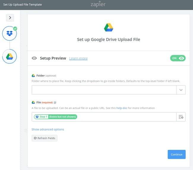 Zapier 사용법_구글 드라이브 설정_업로드 파일 셋업 Set up Google Drive Upload File