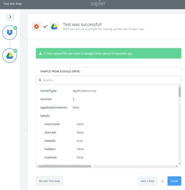 Zapier 사용법_구글 드라이브 설정_테스트 성공