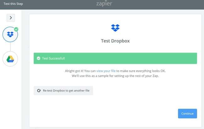 Zapier 사용법_Dropbox에서 구글 드라이브로 복사 기능 설정_Dropbox 계정 선택_계정 확정+저장_디렉토리 설정+테스트