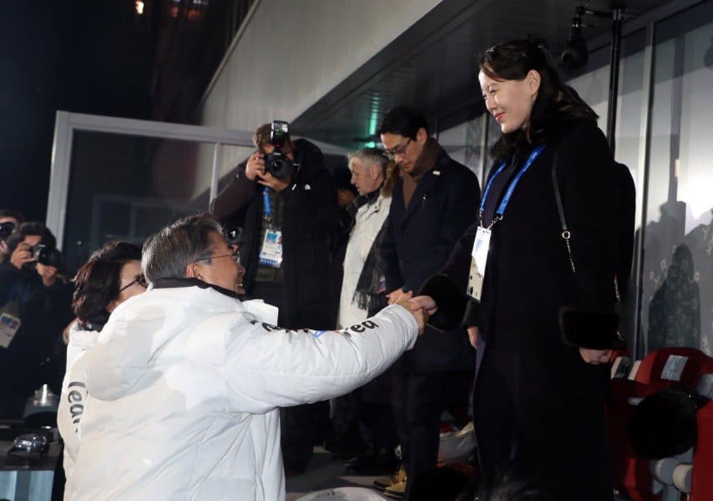 평창올림픽 개막싱에서 문재인대통령과 김여정간 역사적 악수