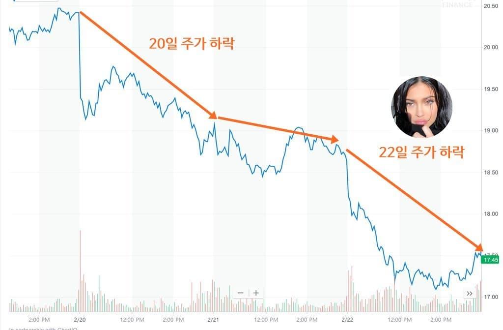 2018년 2월 16일 ~ 2월 22일 스냅 주가 추이 Snap stock price
