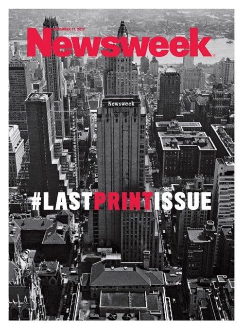 뉴스위크 마지막 호 2012년 12월 Newsweek final cover