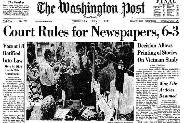 펜타곤 페이퍼 보도에 대한 대법원 판결을 보도한 워싱터 포스트