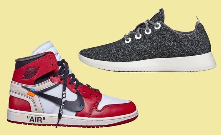 나이키 에어 조단 1(Nike Air Jordan 1)과 올버드 울 러너(Allbirds Wool Runner) 요란스럽고 화려하게 뽐내는 나이키 에어 조단과 조용하게 속삭이는 올버즈