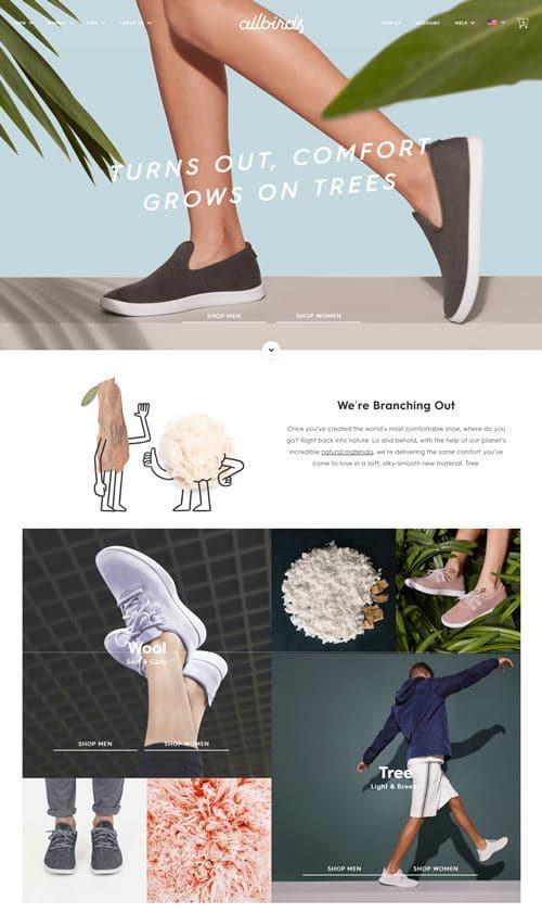 올버즈 사이트 메인 페이지 Allbirds site main page