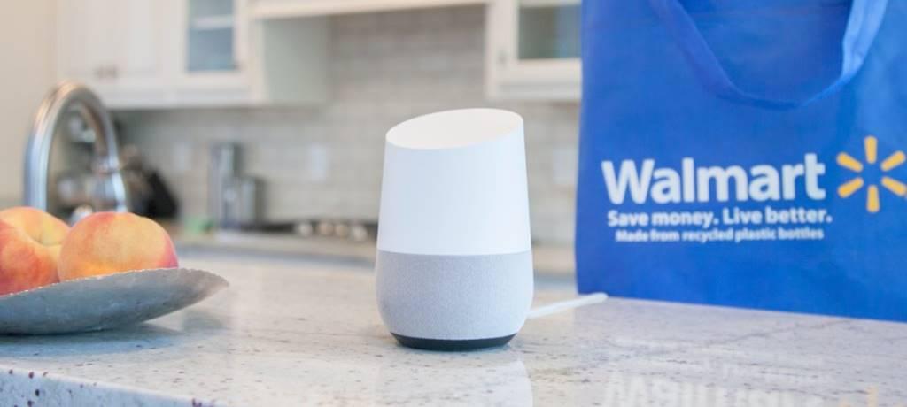 월마트 쇼핑백을 배경으로 구글 홈 walmart google home